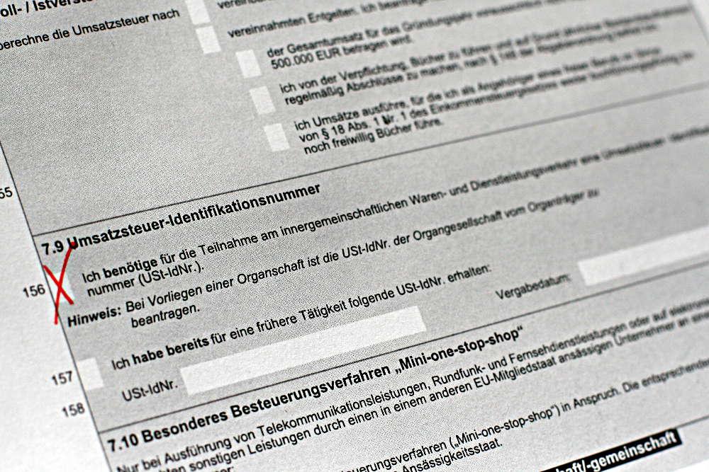 Beantragung Umsatzsteuer-Identifikationsnummer im Fragebogen zur steuerlichen Erfassung (Gründung)